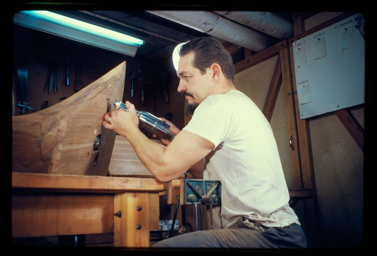 Practicing carving in 1961