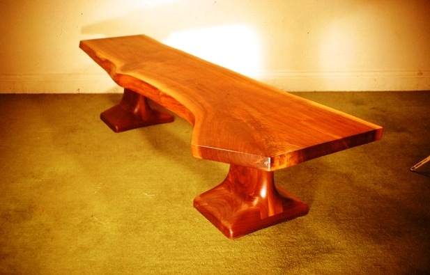 Bench in natural edged Black Walnut